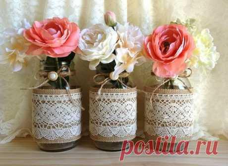 Фото Пример использования кружева и мешковины, получились винтажные вазочки :)