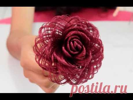 Como hacer una rosa de tela // Rosa de tela Loveluzlop // Fabric Flowers Roses- Loveluzlop