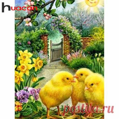 Huacan цыпленок Алмазная картина животное вышивка крестом Алмазная мозаика аксессуары мультфильм Новое поступление Алмазная Вышивка Полный макет|Алмазная роспись, вышивка крестом