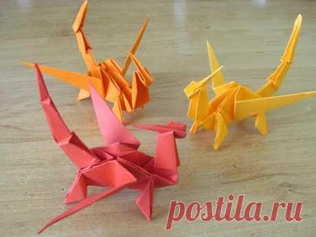 Дракон из бумаги Оригами БУМАЖНЫЙ ДРАКОН Origami paper dragon