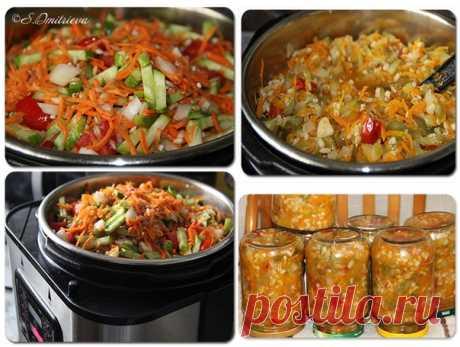 РАССОЛЬНИК  6 кг огурцов свежих (можно переросших) - порезать кусочками или натереть на терке. 2-3 кг моркови - кусочками или на терку. 1.5-2 кг лука - порезать мелко 1 пачка (1 кг) перловки - замочить на ночь, затем сварить до готовности с добавлением соли по вкусу 250-300 гр масла томат либо помидоры по вкусу, либо и то и другое. 150-200 гр сахара 2-3 столовые ложки соли 1 чайная ложка лимонной кислоты перец, лавр, зелень - опционально Лук с морковкой потушить с маслом п...