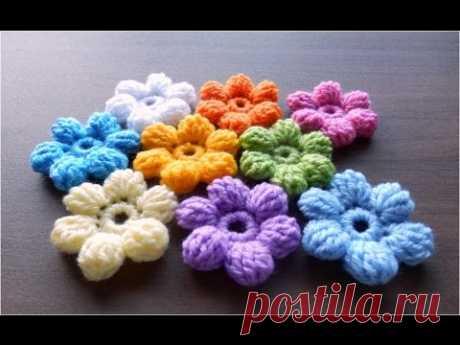 かぎ針編みの玉編みの花(長々編み5目)の編み方  How to Crochet 3D-flower / Crochet and Knitting Japan