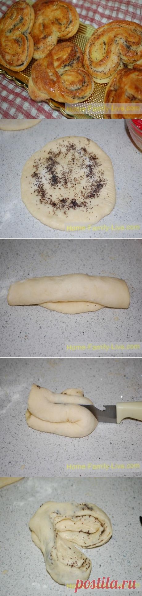 Плюшки с маком - пошаговый фото рецептКулинарные рецепты