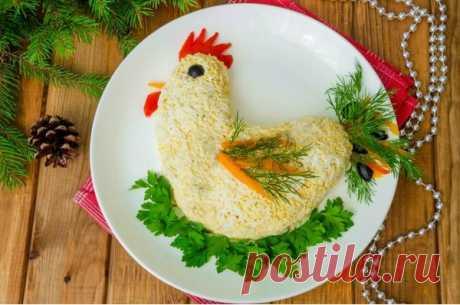 САЛАТ НА ГОД ПЕТУХА!!! Украсьте свой новогодний стол вкусным салатом в форме петушка!