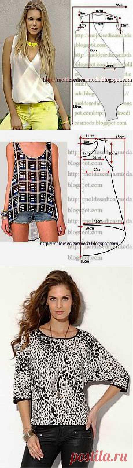 блузки moldesedicasmoda.blogspot.com.