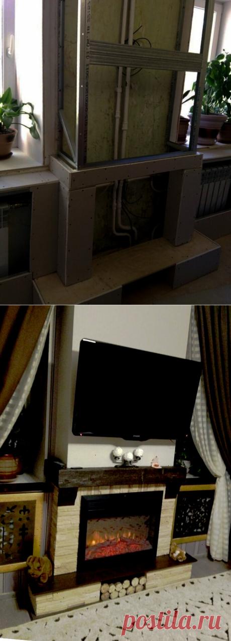 Мужчина закрыл замысловатую сантехнику, сделав камин своими руками | Строим вместе с Ромой | Яндекс Дзен