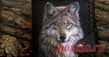 Живопись по коже на основе фотографии. Волк