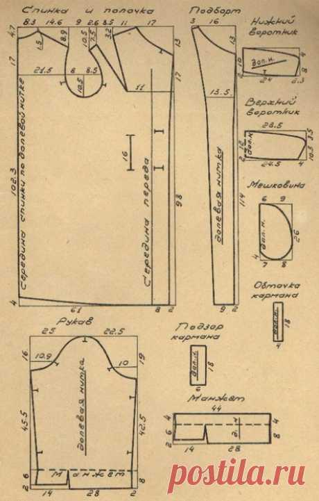 Демисезонное пальто прямой формы без швов по бокам. Выкройка на 52-й размер