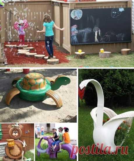 Оформление детской площадки на даче — Поделки с детьми