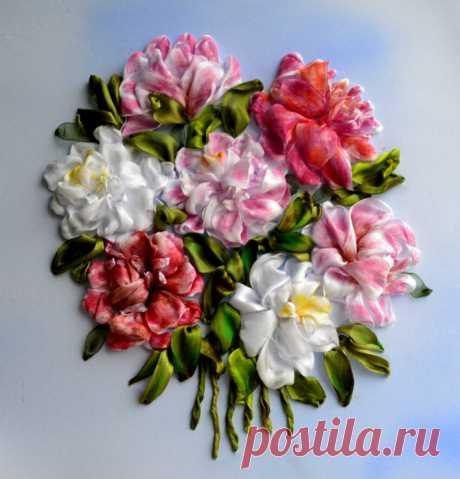 "(6) Gallery.ru / ""Пионы"" - Вышивка лентами 2016 год. - marusya78"
