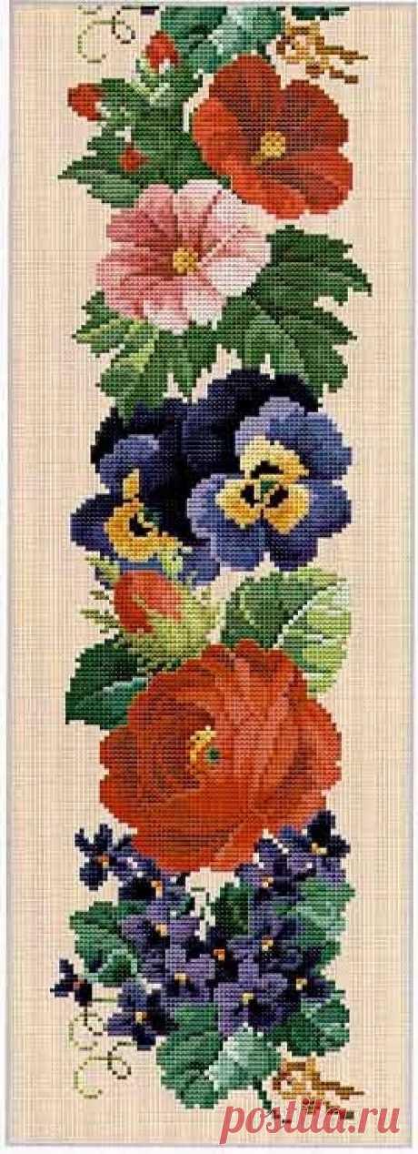 панно композиция анютки и розы