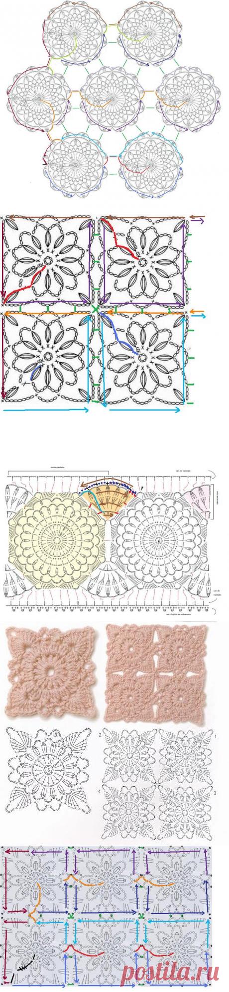 Вязание-крючок-Рисунки и схемы БЕЗОТРЫВНОЕ ВЯЗАНИЕ