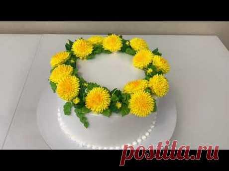 ОДУВАНЧИКИ из Белкового крема! Торт с одуванчиками из БЗК! Красивый торт!