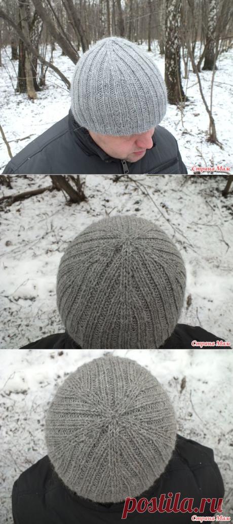 . Двойная мужская шапка спицами - Вязание - Страна Мам
