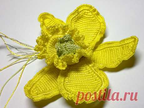 Желтая орхидея крючком. Мастер-класс.