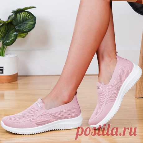 Women Mesh Closed Toe Lazy Slip On Casual Walking Shoes - US$23.99