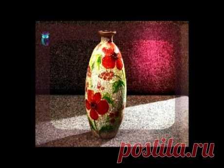 Декупаж. Делаем вазы из обычных стеклянных бутылок используя роспись по стеклу. Мастер класс