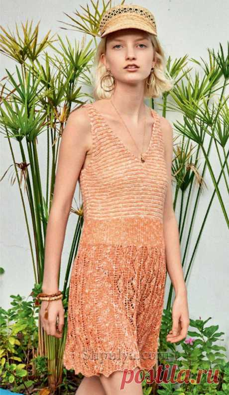 Летнее платье платье с V-образным спицами — Shpulya.com - схемы с описанием для вязания спицами и крючком