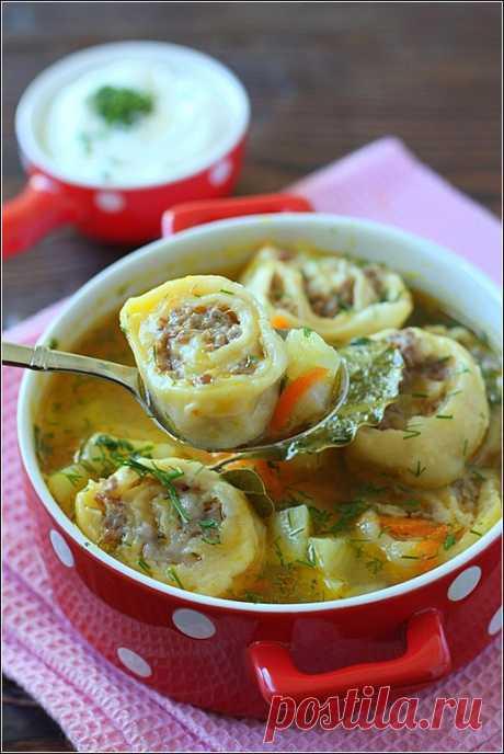 Картофельный суп с ленивыми пельменями - Завтраки, обеды, ужины