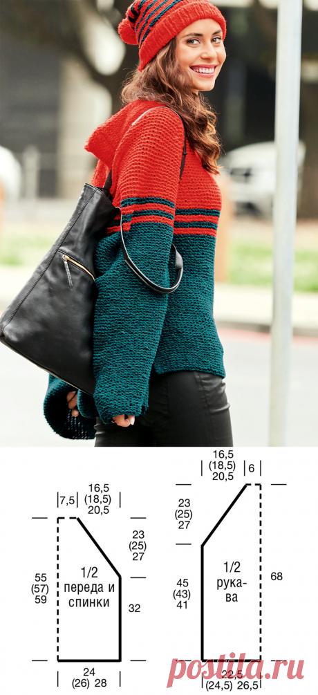 Пуловер покроя реглан с капюшоном - схема вязания спицами. Вяжем Пуловеры на Verena.ru