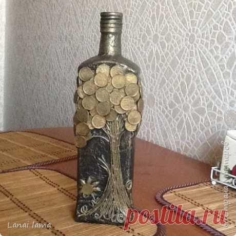 Декор бутылок и не только в технике пейп- арт. | Страна Мастеров