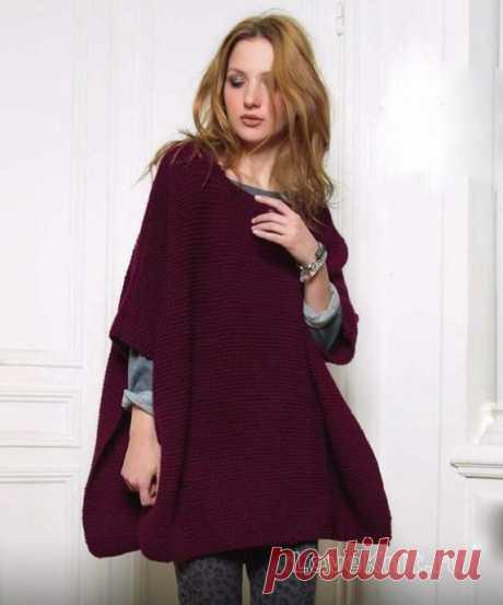 Poncho cape platochny knitting