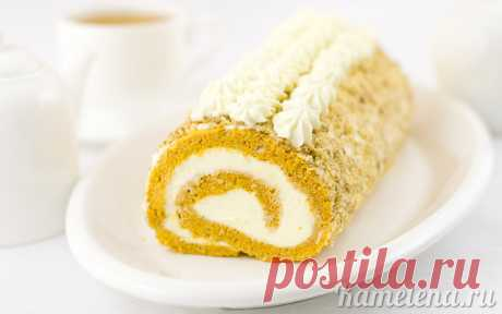 Pumpkin roll with a creamy stuffing