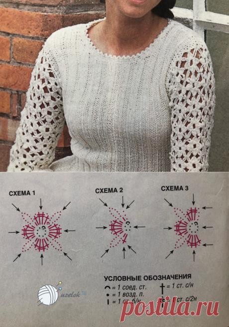Ажурный пуловер спицами, пошаговое описание вязания