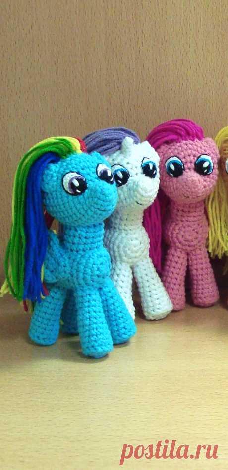 PDF Литл Пони крючком. FREE crochet pattern; Аmigurumi animal patterns. Амигуруми схемы и описания на русском. Вязаные игрушки и поделки своими руками #amimore - пони, лошадка, My Little Pony, Мой маленький пони.