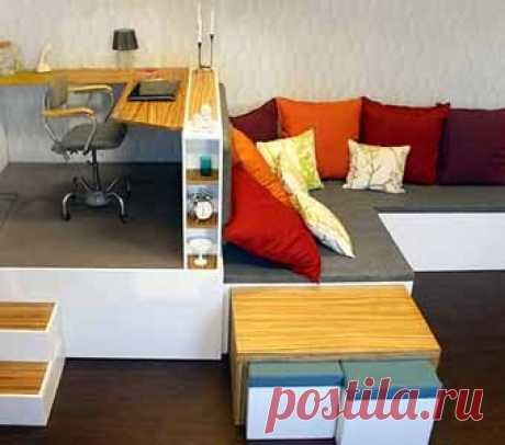 the simple transforming furniture can solve problems of the small room (competent division into the worker, sleeping and a zone for charging)-2