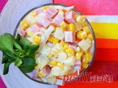 Крабовый салат с ананасом - пошаговый рецепт с фото на Повар.ру