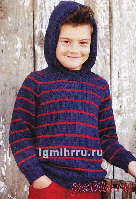 Для мальчика 4-10 лет. Пуловер в полоску с капюшоном. Вязание спицами для мальчиков со схемами и описанием