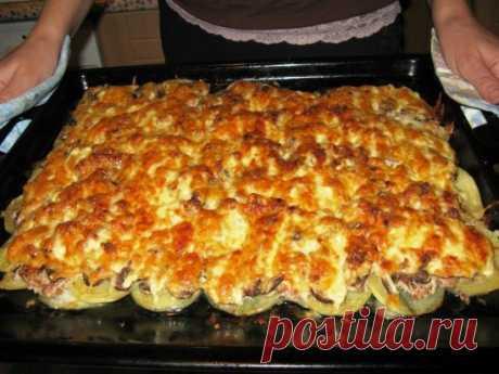 Шикарное блюдо, которое затмит любые блюда из фарша    Рецепт — настоящая бомба!          Ингредиенты: фарш свинина — 400 г,грибы — 100-150 г,картофель — 6 шт,лук — 1 шт,яйцо,сметана — 1 стакан,чеснок — 2 дольки,соль, перец. Приготовление:  Очищенны…
