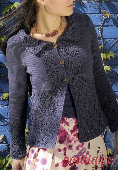 Кофточка спицами на пуговицах. Вязаная спицами женская ажурная кофточка   Вязание для всей семьи