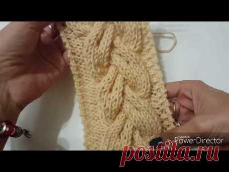 Сложная Коса 18 петель. объемная коса спицами. How to knit an unusual cable.