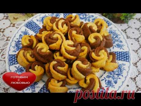 Красивое и ВКУСНОЕ песочное печеньеРОЗОЧКИРецепт ванильного и шоколадного песочного печенья - YouTube