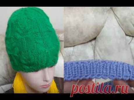 МК по вязанию бесшовной шапочки спицам узором ёлочки. Делаем мелкозубчатый набор и вяжем резинку 1х1