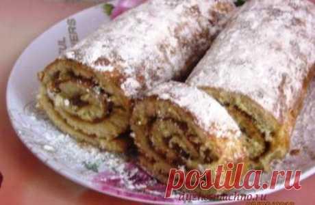 Рулет со сгущенкой   Вкусные рецепты
