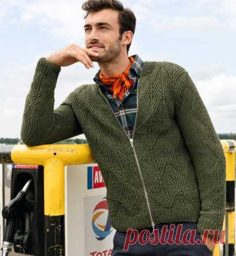 Мужской жакет спицами с рельефным узором на молнии - Портал рукоделия и моды