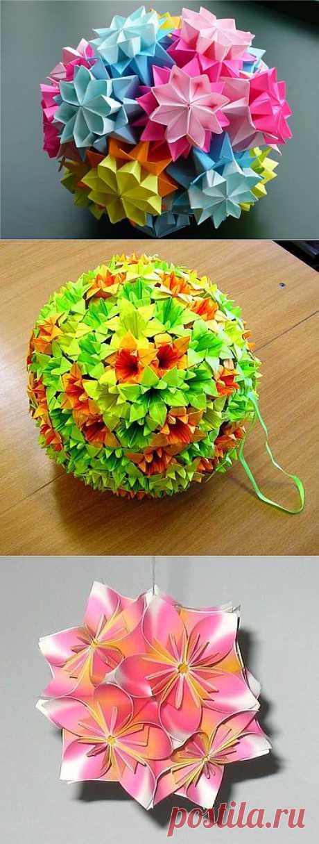 Как сделать шар – «Кусудама» приносящий счастье!!! Легкие но потрясающе красивые поделки своими руками!.