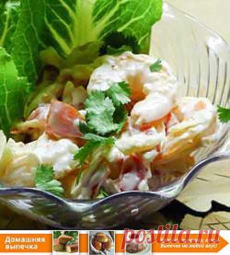 Рецепт: Салат с креветками и помидорами - все рецепты России