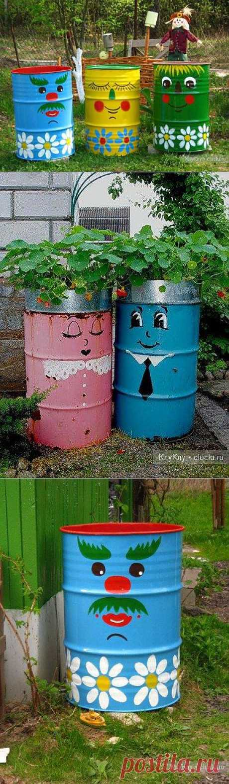 Barrels for giving. Garden design. Very beautifully also all will be able to make.