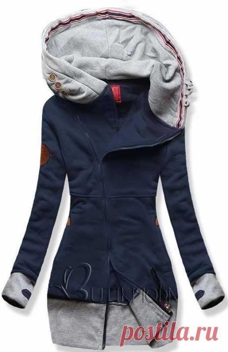 Длинная куртка с капюшоном синяя / серая - Женская одежда