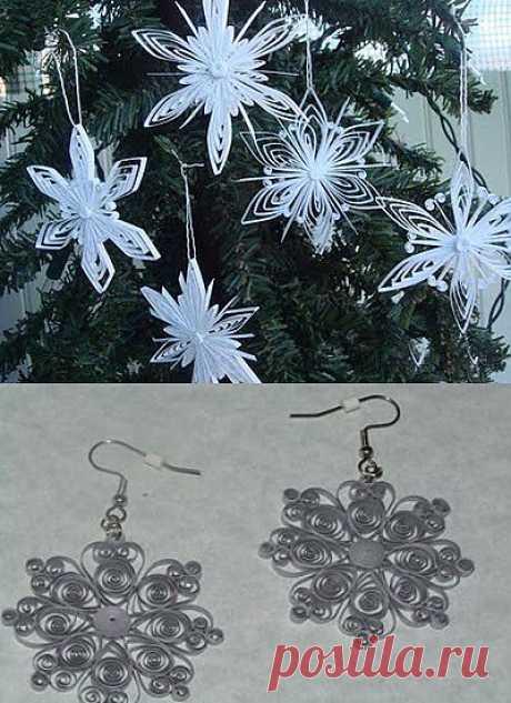 "Новогодний квиллинг мастер-класс: Снежинки для елочки и новогодняя бижутерия ""сережки-снежинки"""