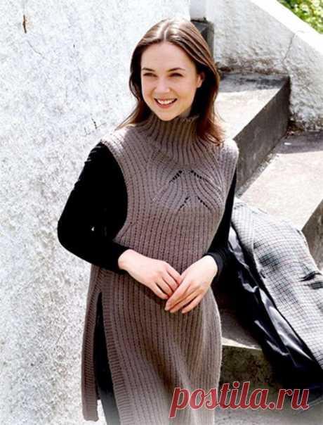 Удлиненный жилет (Вязание спицами) – Журнал Вдохновение Рукодельницы