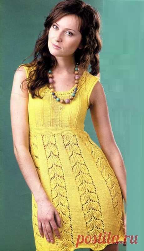 Желтое платье листочками вязаное спицами - Lilia Vignan