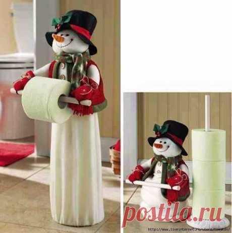 Снеговик-хранитель туалетной бумаги. Выкройка.