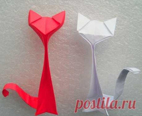 Котик в технике оригами