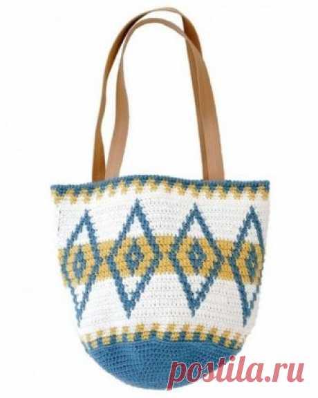 Объёмная сумка крючком. Схемы. / knittingideas.ru