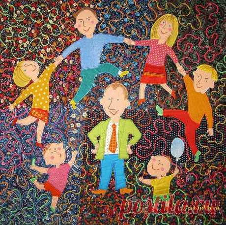 """Лоскутное юбилейное одеяло """"7 Я - моя семья"""" – заказать на Ярмарке Мастеров"""
